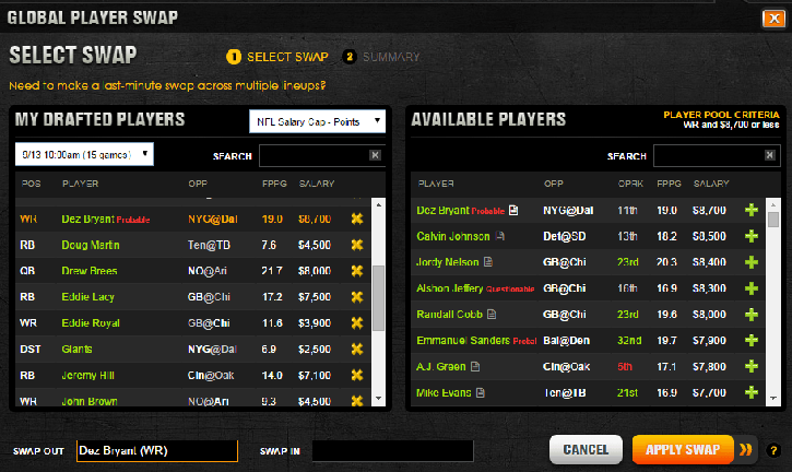 DraftKings Player Swap